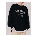 Unisex Trendy letter LAS VEGAS Printed Long Sleeve Round Neck Casual Sports Pullover Sweatshirts