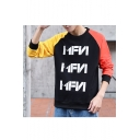 Street Trendy Letter MEN Printed Colorblocked Long Sleeve Casual Sports Round Neck Pullover Sweatshirts
