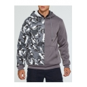 Mens New Fashion Camouflage Patch Long Sleeve Casual Sports Hoodie