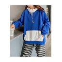 New Popular Letter Moon Pattern Embroidered Color Block Long Sleeve Drawstring Loose Pullover Hoodie With Pocket