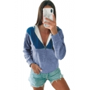 New Fashion Color Block Zippered Front Long Sleeve Pullover Hoodie