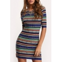 Womens Fashion Round Neck Half Sleeve Tribal Print Open Back Bodycon Mini Dress