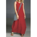 Womens New Fashion Round Neck Sleeveless Plain Loose Maxi Shift Dress