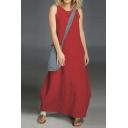 Womens New Fashion Round Neck Sleeveless Plain Loose Maxi Shift Dress