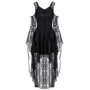 Womens New Fashion Sexy Black Transparent Lace Cold Shoulder Long Sleeve Button Front Maxi Dress