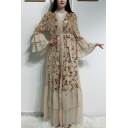 Moslem Bell-Cuff Bow-Tied Waist Sequined Panelled Ruffles Floor Length Maxi Cardigan Dress