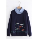 Cartoon Colorful Fish Printed Patched Lapel Collar Long Sleeve Leisure Sweatshirt