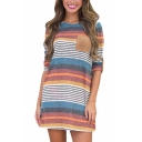 Womens Summer Round Neck Half Sleeve MultiColor Striped Pockets Sheath Mini Dress