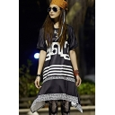 Womens Round Neck Short Sleeve Letter Striped Loose Swing Asymmetrical Midi Dress