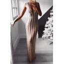 Womens Sexy V-Neck Sleeveless Sequined Striped Hybrid White Sheath Maxi Dress