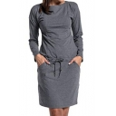 Summer Fashion Plain Long Sleeve Gray Functional Bow-Tied Wait Pockets Loose Midi Maternity Nursing Dress for Breastfeeding Mothers