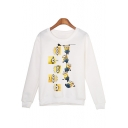 Funny Cartoon Minions Print Round Neck Long Sleeve White Sweatshirt
