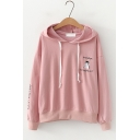 Cartoon Cat Letter Embroidered Long Sleeve Cat Ear Hoodie
