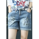Summer Blue Chic Draw Cord Rolled Hem Floral Embroidered Leisure Shift Denim Shorts