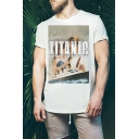 Summer Hot Sale Short Sleeve Round Neck TITANIC Letter Rose and Jack Printed Pullover T-Shirt