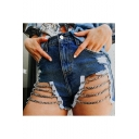 Summer Cool Special Blue High Waist Cutout Ripped Chain Eyelet Embellished Sexy Denim Shorts
