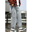 Street Trendy Simple Plain Light Blue Straight Wide Leg Jeans for Guys