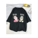 Summer Mens Short Sleeve Round Neck Kiss Rock Letter Figure Printed Funny T-Shirt for Couple