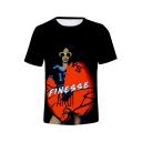 Popular 3D Figure Letter FINESSE Pattern Black Short Sleeve T-Shirt