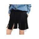 Summer Cool Unique Black High Waist Metallic Zip Split Hem Loose Wide Leg Shorts