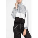 Womens Hot Popular Long Sleeve Stand Neck Zip Front Colorblock Patch Cropped Sweatshirts