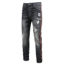 Men's Trendy Contrast Stripe Side Letter Embroidery Stretched Slim Fit Black Ripped Jeans