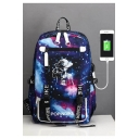Popular Comic Character Printed Creative USB Charging Students Canvas School Bag Backpack 33*17*48cm