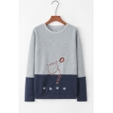 Long Sleeve Round Neck Colorblock Patch Cat Footprint Embroidered Straight Sweatshirt