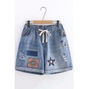 New Arrival Blue Drawstring Waist Distressed Letter Star Tribal Embroidered Rolled Hem Denim Shorts