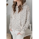 Leopard Printed Long Sleeve Pocket Front Classic Loose Pullover Hoodie