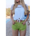 Fashion Womens Green Rolled Cuff Fringe Hem Multi Pocket Sexy Beach Denim Shorts