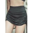 Summer Hot Fashion Plain High Waist Drawstring Side Stretch Ruch Skorts