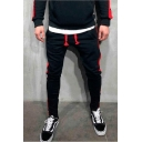 Popular Fashion Colorblock Patched Side Drawstring Waist Casual Sports Sweatpants Pencil Pants for Men
