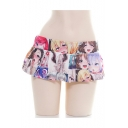 Elastic Waist Cartoon Printed Pleated Hem Sweet Cute Mini Beach Skirt