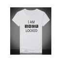 Summer Short Sleeve Round Neck I Am Sher Locked Letter Printed Slim Fitted Leisure T Shirt