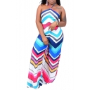 Hot Popular Halter Neck Sleeveless Wave Striped Casual Loose Jumpsuits