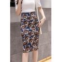 Womens High Waist Split Side Lion Printed Midi Bodycon Pencil Skirt