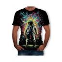 Summer Hot Stylish Black Short Sleeve Round Neck Astronaut Printed Mens T Shirt