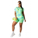 Stylish Short Sleeve Round Neck Tee with Slim Fitted Shorts Tie Dye Co-rods