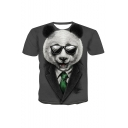 Grey Short Sleeve Round Neck Funny 3D Blazer Panda Printed Cool Unique T Shirt