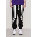 Men's New Fashion Contrast Stripe Printed Drawstring Waist Loose Fit Trendy Track Pants