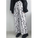 Unisex New Fashion Chinese Letter Zebra Printed Loose Fit Trendy Straight Wide Leg Pants