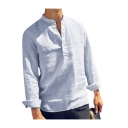Mens Long Sleeve Stand Collar Striped Button Front Casual Loose Shirt