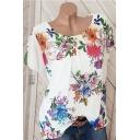 Summer Hot Fashion Short Sleeve Round Neck Floral Printed Elegant T-Shirt