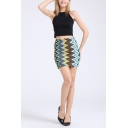 Fashion Blue Stripe Printed Womens Mini Bodycon Skirt