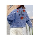 Fancy Rose Floral Letter Have A Nice Day Embroidery Button Front Blue Ripped Denim Jacket