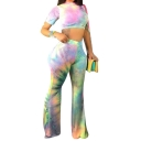 Fashion Tie Dye Printed Womens Slim Crop Tee with Flared Pants Two-Piece Set