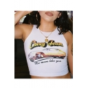 Summer Hot Popular Sleeveless Cheey Team Letter Car Printed White Stretch Cropped Tank Tee