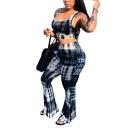 Womens Trendy Tie-Dye Scoop Neck Crop Tank with Flared Pants Two-Piece Set