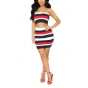 Summer Womens Hot Popular Stripe Printed Crop Bandeau Top with Mini Skirt Two-Piece Co-ords